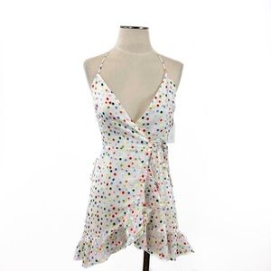Lovers + Friends- Gigi Rainbow Dot Wrap Dress XS